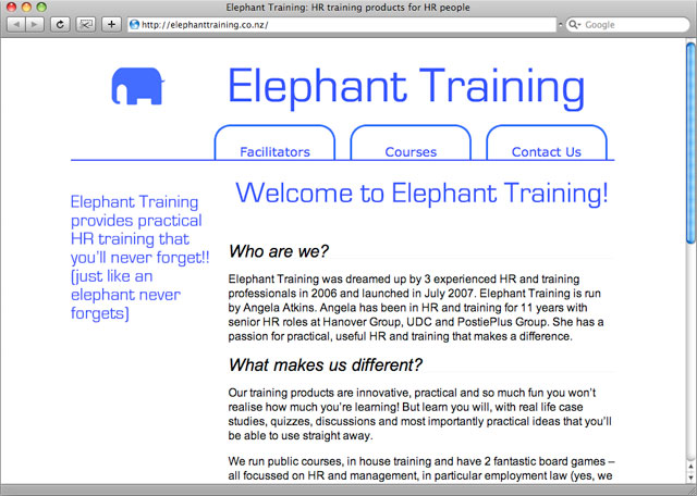 Elephant Training homepage