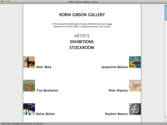 Robin Gibson Gallery artist list page