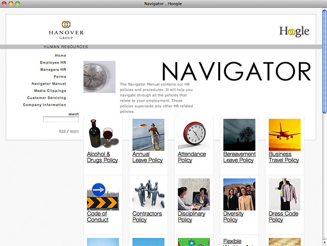 Hanover Human Resources Intranet typical page