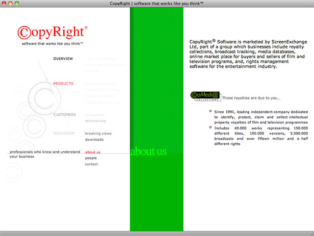 CopyRight about screen