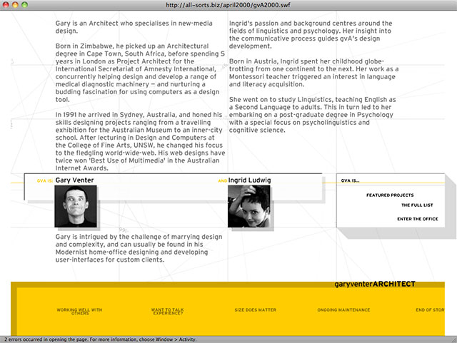 gva website circa 2000 about page