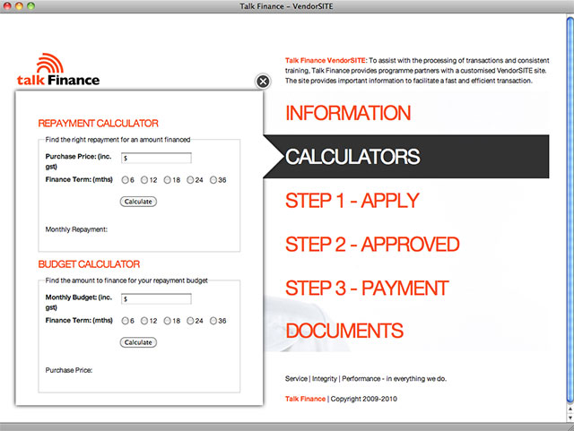 Talk Finance vendor site detail