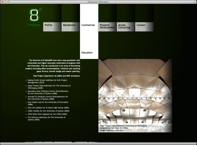8-squared architects website project detail page