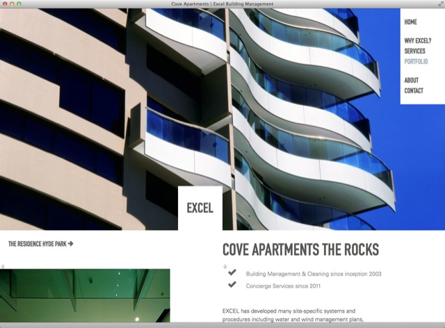 Excel Building Management website design - detail template