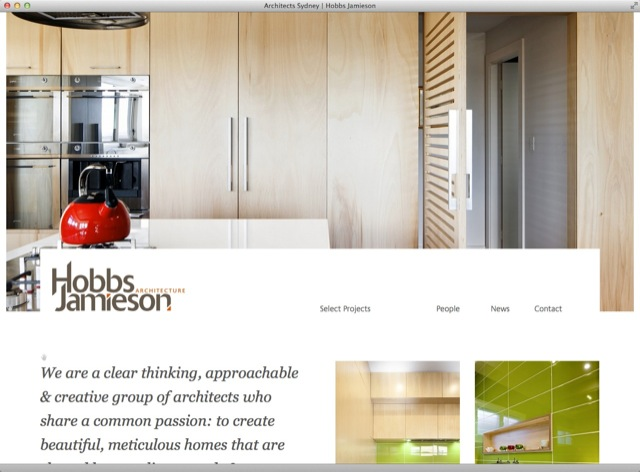 Hobbs Jamieson Architect website design - entry template