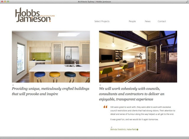 Hobbs Jamieson Architect website design - entry template2