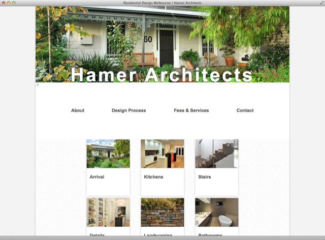 Hamer Architects website design - homepage template