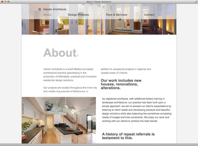 Hamer Architects website design - about template