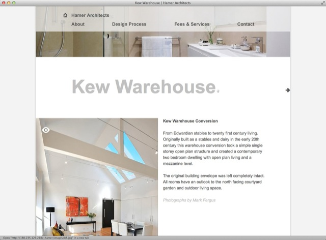 Hamer Architects website design - detail template