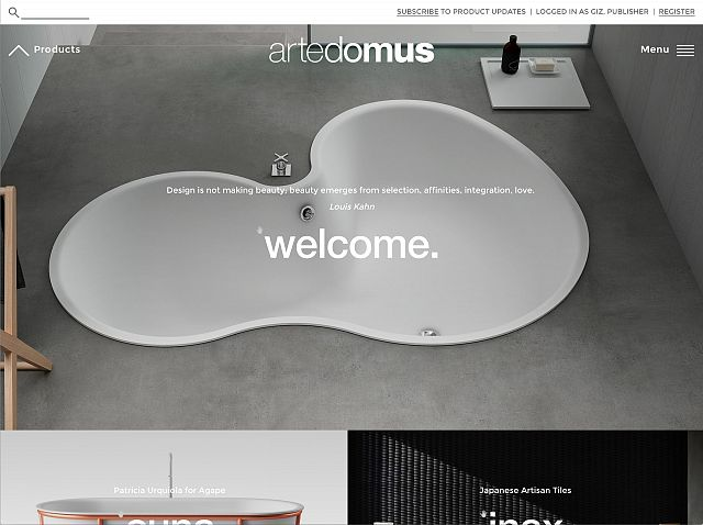 Artedomus website entry page