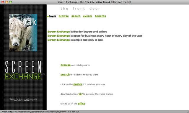 Screen Exchange homepage