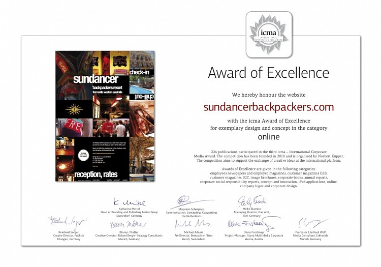 Corporate Media Awards Sundancer Backpackers Hostel