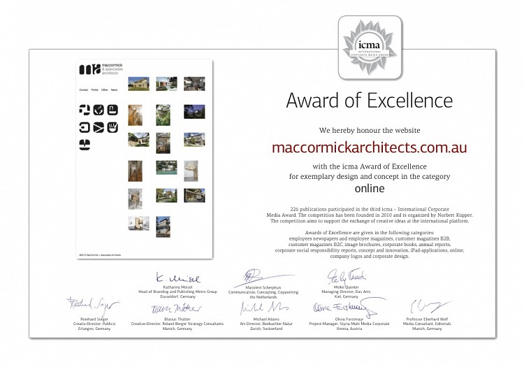 Corporate Media Awards MacCormick Architects