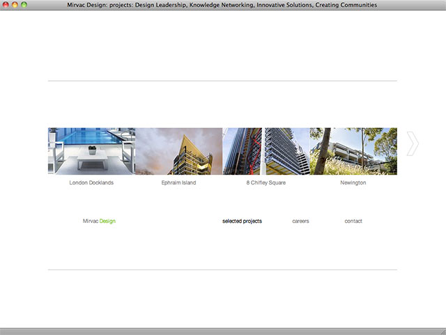 Mirvac Design project listing page