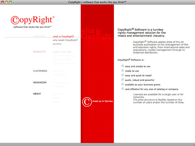 CopyRight product screen