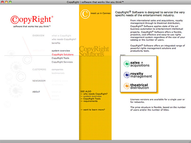 CopyRight solutions screen