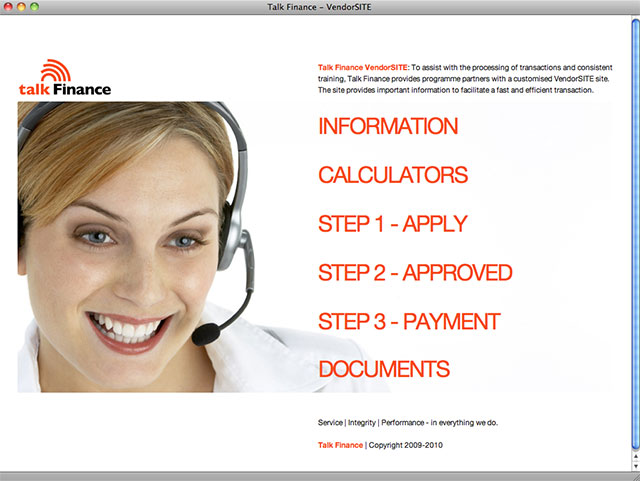 Talk Finance vendor site entry