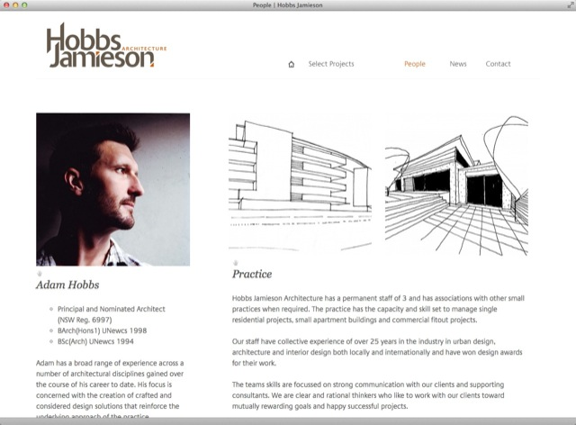 Hobbs Jamieson Architect website design - about template